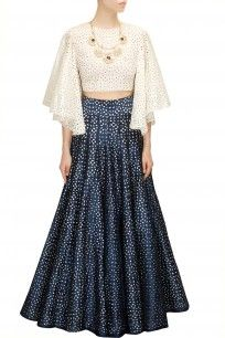 SVA - Midnight blue lasercut high waist lehenga with poncho crop blouse. New and interesting.