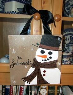 Custom Snowman Winter Christmas Canvas Sign by dreamcustomartwork, $25.00