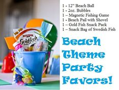 beach themed party favors: buckets, beach ball, and bubbles Luau Birthday, 4th Birthday Parties, Birthday Ideas, Luau Party, Beach Party, Beach Bbq, Water Party, Kid Party Favors, Beach Themes
