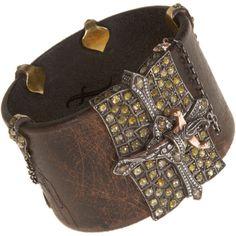 Sevan Bicakci Diamond Leather Bracelet with Dagger Closure found on Polyvore
