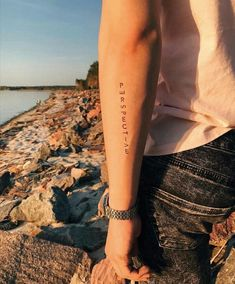 Tattoos for men Small Tattoos Men, Small Quote Tattoos, Tattoos For Women, Tattoo Quotes, Quote Tattoo For Guys, Cool Tattoos For Guys, Wörter Tattoos, Line Tattoos, Word Tattoos