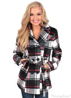 Red Lips Plaid Peacoat | Monday Dress Boutique