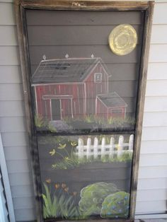 ideas painted screen door woods for 2019 Painted Window Screens, Old Window Screens, Painted Doors, Window Screen Crafts, Window Art, Window Frames, Window Ideas, Door Ideas, Vintage Screen Doors