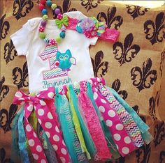 Girls Owl First Birthday Set, Look whoos one,bright shabby chevron tutu set, chunky necklace, bright headband, lace, ott outfit chevron, $68.99