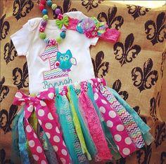 Girls Owl First Birthday Set, Look whoos one,bright shabby chevron tutu set, chunky necklace, bright headband, lace, ott outfit chevron, $68.99