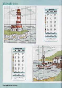 Lighthouse and Fishing Boat Cross Stitch Sea, Cross Stitch House, Cross Stitch Needles, Cross Stitch Cards, Counted Cross Stitch Patterns, Cross Stitch Designs, Cross Stitching, Cross Stitch Embroidery, Embroidery Patterns