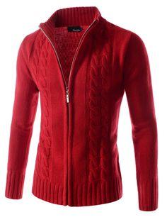 1909f2accf4878 (TNC16) Twist Knitted Good Thermal Turtle Neck Zip Up Long Sleeve Cardigan  Jacket. Zip UpsMen DressMen SweaterTurtle NeckMen's StyleWinter FashionKnit  ...