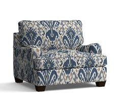 """PB Comfort English Arm Upholstered Grand Armchair 42"""", Box Edge Down Blend Wrapped Cushions, Ikat Geo Blue"""