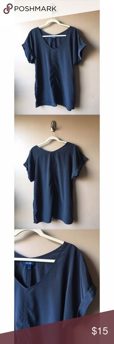 Old Navy V-Neck Very flattering shirt, material doesn't stretch. In great condition, only worn a couple times! Color is a dark grayish-blue. Old Navy Tops Blouses