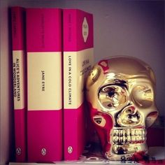 Pink books & Gold skull... another way of styling my Z Gallerie skull.
