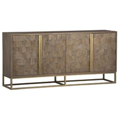 The Omega Sideboard has natural elm wood inlay on the doors and iron accents finished in antique brass. Details + Dimensions Materials: Iron, Elm Wood Colors: Brown, Brass W: D: H: Handmade Furniture, Unique Furniture, Classic Furniture, Furniture Buyers, Rustic Furniture, Furniture Ideas, Furniture Design, Sideboard Buffet, Credenza