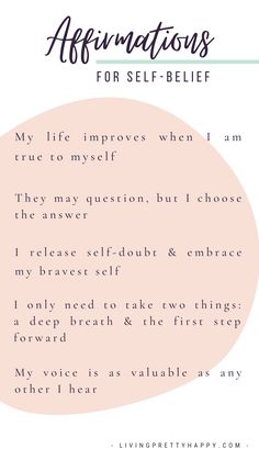 Affirmations for Self-Belief