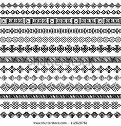 Popular Embroidery Designs Border Decoration Elements Patterns In Black And White Colors. Most Popular Ethnic Border In One Mega Pack Set Collections. Border Pattern, Border Design, Pattern Design, Lace Border, Learn Embroidery, Embroidery Patterns, Frise Art, Blackwork, Black And White Colour