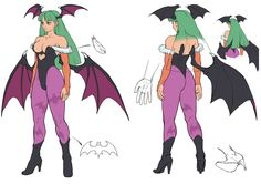 """From Darkstalkers: Official Complete Works - Morrigan turnaround. Wings hang low, but don& attach at the waist as some think. Game Character Design, Character Design References, Character Drawing, Character Concept, Concept Art, Fantasy Characters, Anime Characters, Morrigan Cosplay, Arte Nerd"