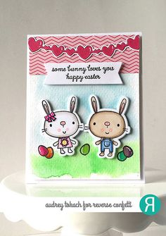 Card by Audrey Tokach. Reverse Confetti stamp set: Hippity Hoppity. Confetti Cuts: Hippity Hoppity, Double Heart Garland and Tag Me. Easter card. Easter bunny.