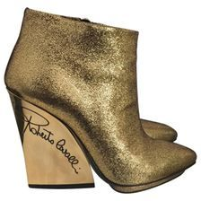 ROBERTO CAVALLI Gold Leather Ankle boots