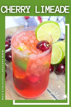 With vodka and rum, this Cherry Limeade Cocktail is a guaranteed party hit! Perfectly sour and just sweet enough! Vodka Cocktails, Easy Cocktails, Lemon Lime, Lime Juice, Grapefruit, Rum, Cherry, Sweet, Party