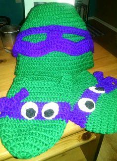 Purple Ninja Turtle Beanie & Slippers - Adult Size