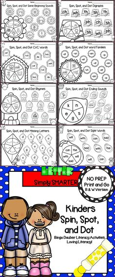 Are you looking for NO PREP literacy activities? Then enjoy this YEAR LONG literacy resource which is comprised of FIFTY-SIX different SPIN, SPOT, AND DOT activities.  Children will practice a variety of skills while using these interactive activities that are differentiated.  They also can be used as academic partner games.   ALL YOU NEED TO DO IS DOWNLOAD THE PAGES AND PROVIDE BINGO DAUBERS (OR CRAYONS IF YOU DO NOT HAVE BINGO DAUBERS), A CLIP, AND A PENCIL. Sight Word Activities, Interactive Activities, Educational Activities, Literacy Centers, Teaching Resources, Teaching Ideas, Classroom Games, Kindergarten Classroom