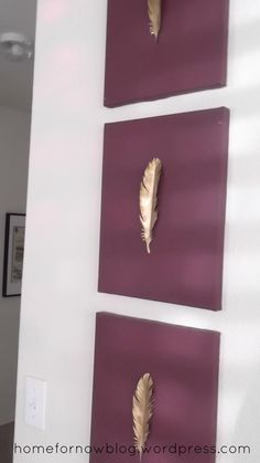Gold feather DIY art..  maybe try a leaf