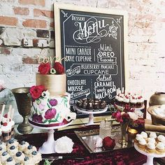 Love the chalkboard menu and crushed velvet tablecloth ~ we ❤ this! moncheribridals.com