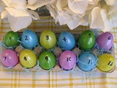 "Resurrection Eggs -- basically a 12-day ""advent"" countdown to Easter, to help small children learn the story of the crucifixion and resurrection."