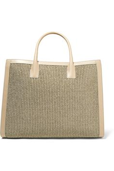 Beige straw, mushroom leather (Goat) Magnetic fastening at open top Designer color: Taupe Comes with dust bag Weighs approximately Made in Italy Larsson And Jennings Watch, Fashion Tv, French Fashion, Straw Tote, Love Ring, Jennifer Fisher, Victoria Beckham, Everyday Fashion, Louis Vuitton Damier