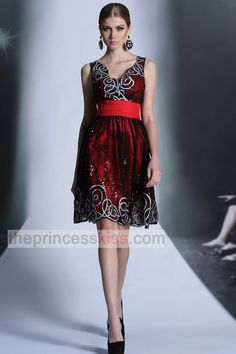 PRINCESS KISS Square Neck Black Red Prom Dresses Short, Sparkly Homecoming Dresses 2014 with Sequin 6049