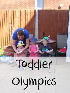 Toddler Olympic Games - including jumping, throwing, climbing, crawling and balancing great to celebrate the olympics but also wonderful for a summer sports day Meitler Kennedy Stonehouse? Games For Toddlers, Craft Activities For Kids, Activity Games, Summer Activities, Physical Activities, Toddler Activities, Sports Day For Toddlers, Sports Day Activities, 4 Kids