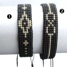This bracelet is made out of tiny Japanese Toho beads. Wrist size - inches) Width - Worn alone or layered with your wath this bracelet makes a cute addition and compliments any look, for day or night. Perfect gift for a boyfiend, Loom Bracelet Patterns, Bead Loom Bracelets, Bead Loom Patterns, Bracelet Crafts, Woven Bracelets, Friendship Bracelet Patterns, Beading Patterns, Beaded Earrings, Beaded Jewelry