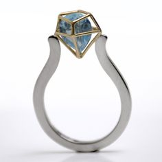 Very Garcia refugio ring, 18k white and yellow gold, aquamarine