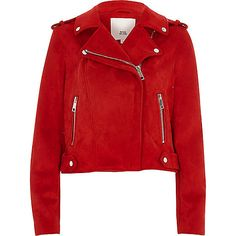 Faux suede fabric Biker collar Popper-fastened epaulettes Front zip pockets Long sleeve Silver tone hardware Asymmetric zip front fastening Please note, colour may transfer Our model wears a UK 8 and is 175cm/5'9'' tall