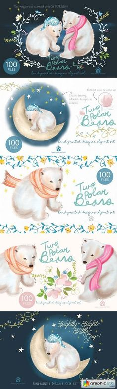 Two Polar Bears  Handpainted Design  stock images