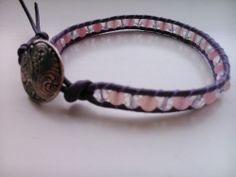 Handcrafted Leather & Gemstone Single Wrap Bracelet - Morganite & Crystal