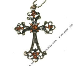 65cm Sweater Chain Necklace Jewelry Cross Shape Coppery