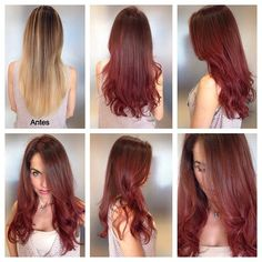 #CHIcolor Makeover: Roots 6RB+4RB +red additive, mid and ends 6RB+5CG+5RV+ red additive, all 10 vol.