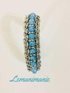 #bracciale #chainmail #swarovsky #celeste, by Lemanimanie, 25,00 € su misshobby.com
