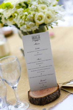 Style Me Pretty. Victoria Wedding by Afoto Professional Photography. >LOVE the cut wood for a place holder and the simplicity of the menu fonts/design.