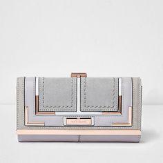 cf60afccc Grey rose gold clip top purse $36.00 River Island Purses, Gold Handbags,  Luxury Handbags