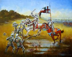 The Battle of Bosworth Field August 1483 Armour Illustrations: Finished oil painting of Richard III and Sir Percival Thirlwall at Bosworth field Battle Of Bosworth Field, Late Middle Ages, Wars Of The Roses, Plantagenet, King Richard, Medieval Knight, Rose Art, Military History, Fantasy Characters