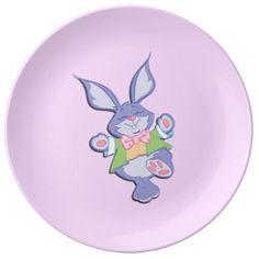 Dancing Purple Easter Bunny Porcelain Plate