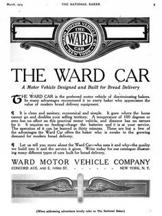 The Ward Electric car was a four passenger coupe costing $2,100 and went 100 miles per charge.[2] In 1916, the price was $875.[3] The battery was an Edison battery.[3] In 1916, the price was dropped to $1,295. The company stopped electric car production after 1916. It continued to make trucks until 1937.
