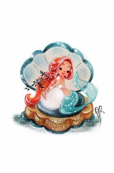 Adorable Aquamarine fine art mini print by LianaHee on Etsy red haired mermaid on the half shell Disney Kunst, Arte Disney, Disney Art, Mermaid Cove, Mermaid Fairy, Mermaid Lagoon, Mermaid Drawings, Art Drawings, Mermaid Paintings