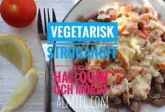Vegetarisk stroganoff med halloumi och morot Halloumi, Meat, Chicken, Food, Essen, Meals, Yemek, Eten, Cubs