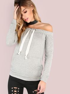 """Don't miss out on this effortlessly cool style. Featuring a sweatshirt look with a twist, an off the shoulder body, long sleeve arms, single pocket, elastic shoulder band with a drawstring and french terry material. Sweatshirt measures 20.9"""" in. from top to bottom hem. Keep it cool with light washed denim shorts and white high tops. #urban #MakeMeChic #style #fashion #newarrivals #fall16"""