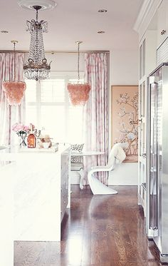 Interior Design | A Modern Style - white and blush tones accent kitchen flooded with natural light