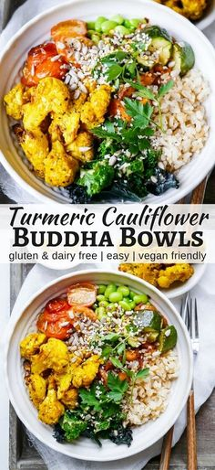 Roasted Turmeric Cauliflower Buddha Bowls make such a colourful, healthy meal! This vegan and gluten free recipe is easy to make and flexible. By Nourish Everyday meat Roasted Turmeric Cauliflower Buddha Bowls Dieta Vegan, Vegan Keto, Vegan Hummus, Healthy Recipes, Whole Food Recipes, Cheap Recipes, Healthy Vegan Meals, Dinner Recipes, Party Recipes