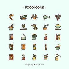Different food icons Free Vector