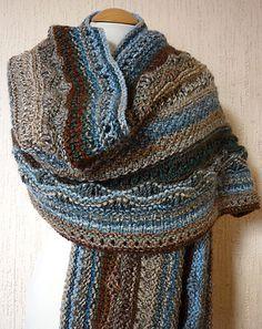 free Ravelry pattern: dancing-girl's Rock Pool Knitted Sampler Wrap
