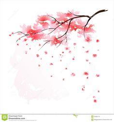 Stylized Sakura blossom - Japanese cherry tree with flying petals. .